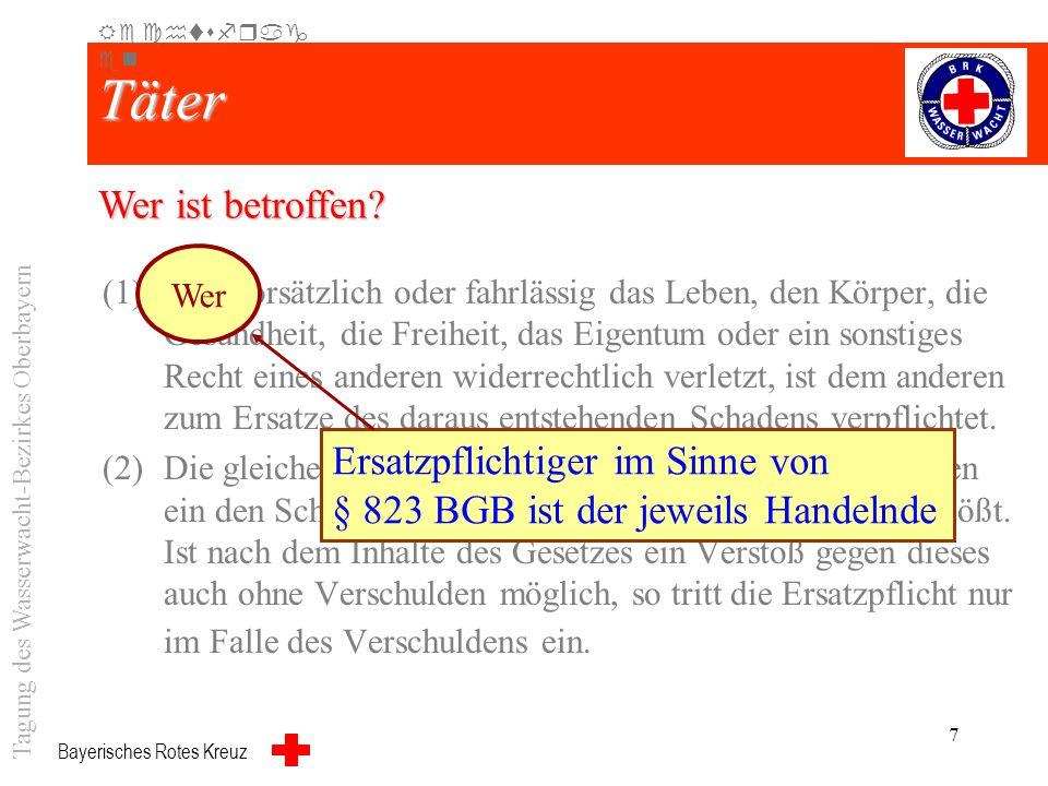 Bayerisches Rotes Kreuz 6 Strafrecht (1)Wer es unterlässt, einen Erfolg abzuwenden, der zum Tatbestand eines Strafgesetzes gehört, ist nach diesem Ges