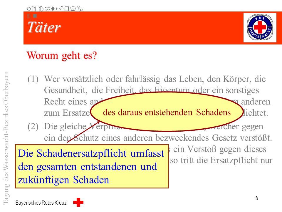 Bayerisches Rotes Kreuz 7 Täter (1)Wer vorsätzlich oder fahrlässig das Leben, den Körper, die Gesundheit, die Freiheit, das Eigentum oder ein sonstige