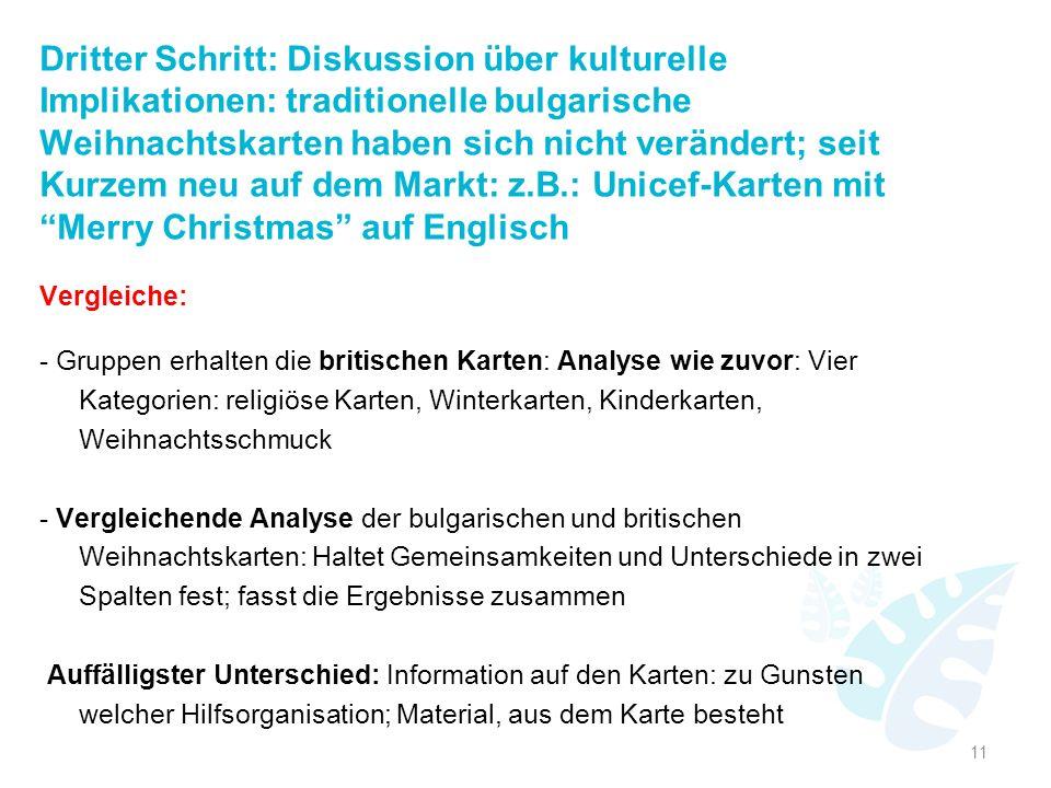 Dritter Schritt: Diskussion über kulturelle Implikationen: traditionelle bulgarische Weihnachtskarten haben sich nicht verändert; seit Kurzem neu auf