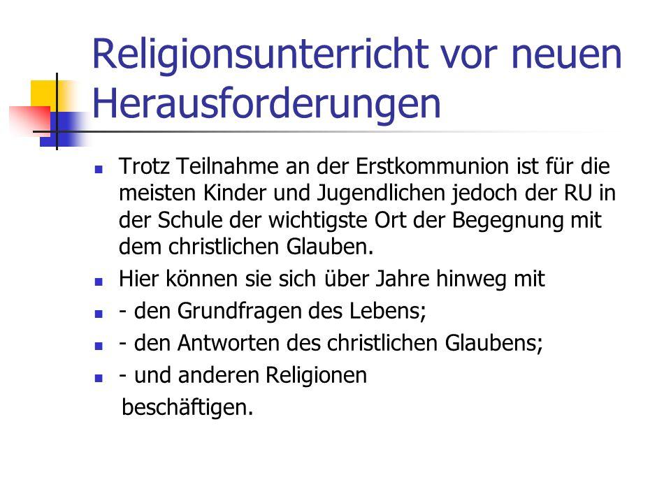 Religionsunterricht vor neuen Herausforderungen Unbewältigte Erfahrungen mit Fehlformen religiöser Erziehung, in der Glaube und Kirche zu disziplinari