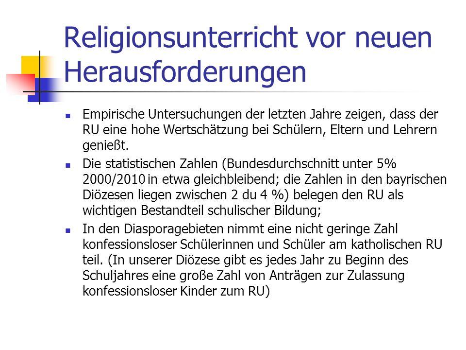 Religionsunterricht vor neuen Herausforderungen Das Konfessionalitätsprinzip schließt Formen konfessioneller Kooperation im Religionsunterricht keines