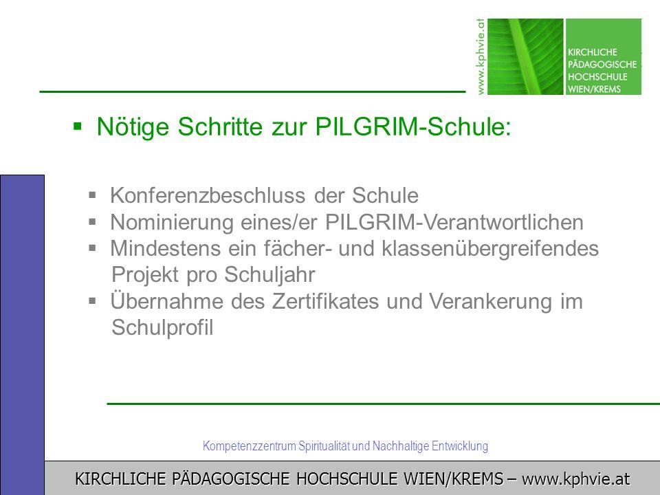 KIRCHLICHE PÄDAGOGISCHE HOCHSCHULE WIEN/KREMS – www.kphvie.at Kompetenzzentrum Spiritualität und Nachhaltige Entwicklung Nötige Schritte zur PILGRIM-S