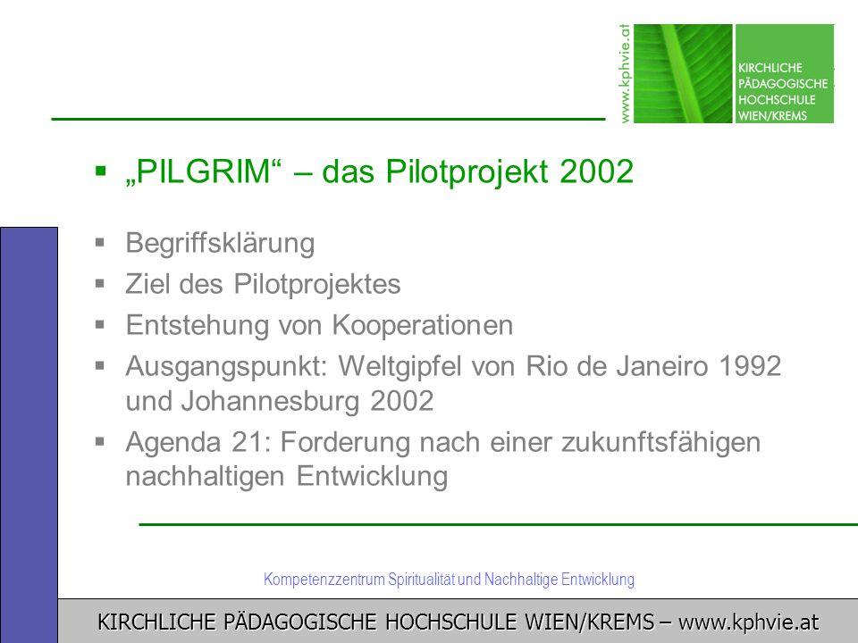 KIRCHLICHE PÄDAGOGISCHE HOCHSCHULE WIEN/KREMS – www.kphvie.at Kompetenzzentrum Spiritualität und Nachhaltige Entwicklung PILGRIM – das Pilotprojekt 20