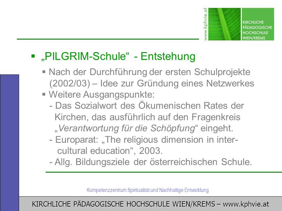 KIRCHLICHE PÄDAGOGISCHE HOCHSCHULE WIEN/KREMS – www.kphvie.at Kompetenzzentrum Spiritualität und Nachhaltige Entwicklung PILGRIM-Schule - Entstehung N