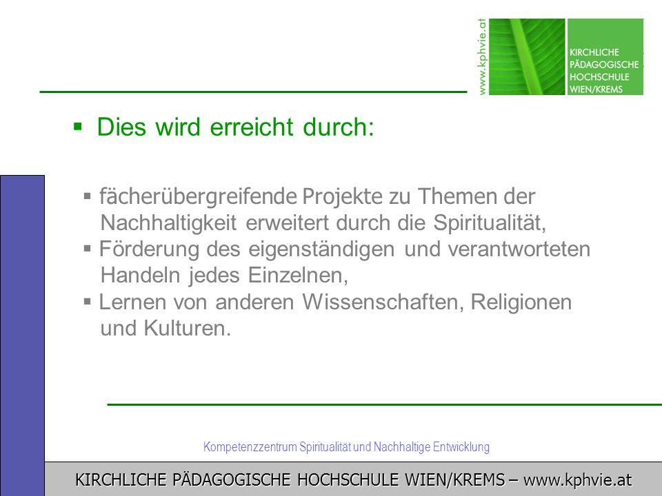 KIRCHLICHE PÄDAGOGISCHE HOCHSCHULE WIEN/KREMS – www.kphvie.at Kompetenzzentrum Spiritualität und Nachhaltige Entwicklung Dies wird erreicht durch: fäc