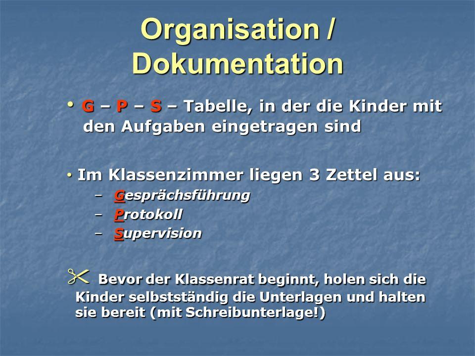 Organisation / Dokumentation G – P – S – Tabelle, in der die Kinder mit den Aufgaben eingetragen sind G – P – S – Tabelle, in der die Kinder mit den A