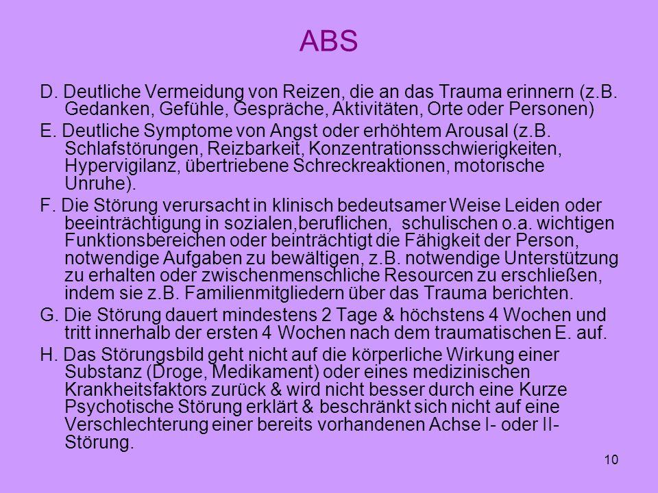 10 ABS D. Deutliche Vermeidung von Reizen, die an das Trauma erinnern (z.B. Gedanken, Gefühle, Gespräche, Aktivitäten, Orte oder Personen) E. Deutlich