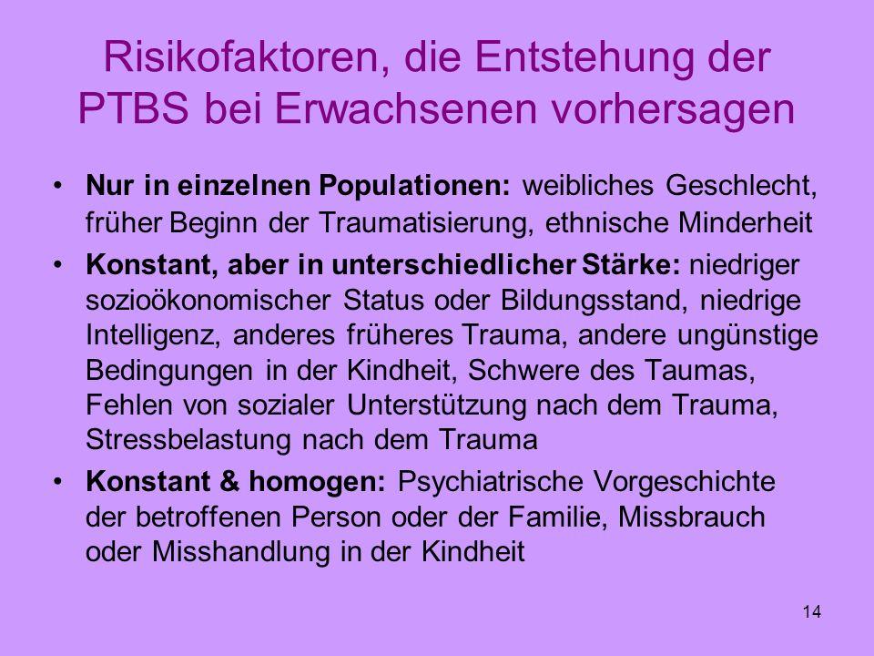 14 Risikofaktoren, die Entstehung der PTBS bei Erwachsenen vorhersagen Nur in einzelnen Populationen: weibliches Geschlecht, früher Beginn der Traumat