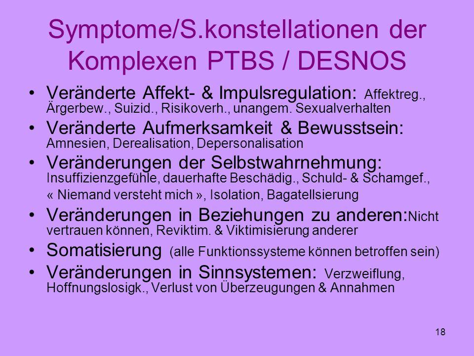 18 Symptome/S.konstellationen der Komplexen PTBS / DESNOS Veränderte Affekt- & Impulsregulation: Affektreg., Ärgerbew., Suizid., Risikoverh., unangem.
