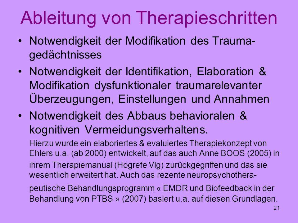 21 Ableitung von Therapieschritten Notwendigkeit der Modifikation des Trauma- gedächtnisses Notwendigkeit der Identifikation, Elaboration & Modifikati