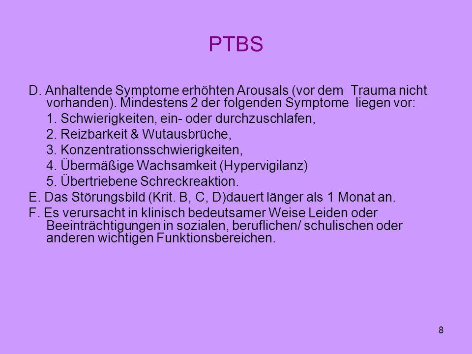 8 PTBS D. Anhaltende Symptome erhöhten Arousals (vor dem Trauma nicht vorhanden). Mindestens 2 der folgenden Symptome liegen vor: 1. Schwierigkeiten,