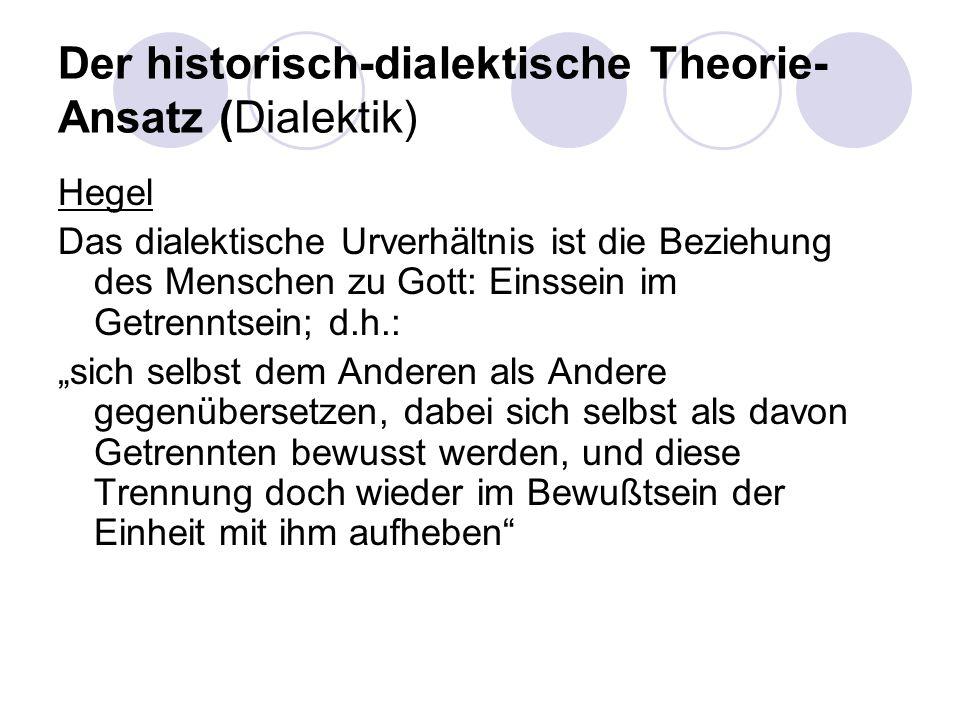Der historisch-dialektische Theorie- Ansatz (Dialektik) Hegel Das dialektische Urverhältnis ist die Beziehung des Menschen zu Gott: Einssein im Getren