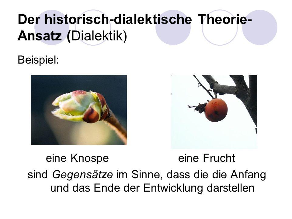 Der historisch-dialektische Theorie- Ansatz (Dialektik) Beispiel: eine Knospe eine Frucht sind Gegensätze im Sinne, dass die die Anfang und das Ende d