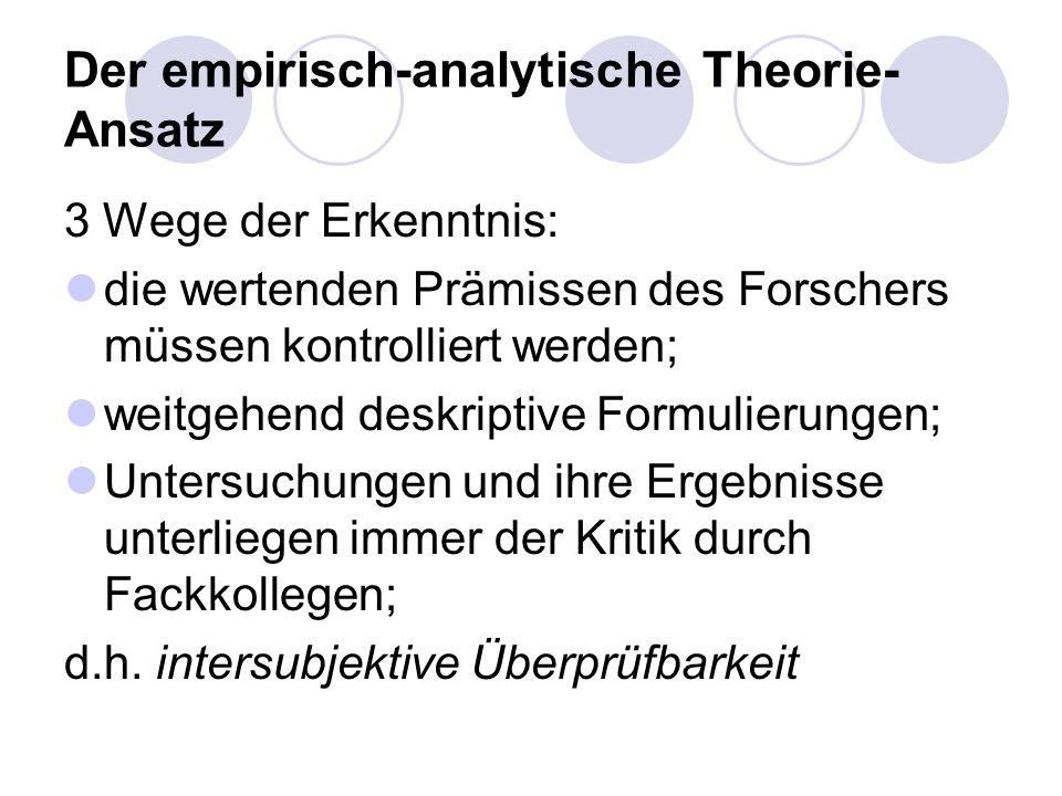 Der empirisch-analytische Theorie- Ansatz 3 Wege der Erkenntnis: die wertenden Prämissen des Forschers müssen kontrolliert werden; weitgehend deskript