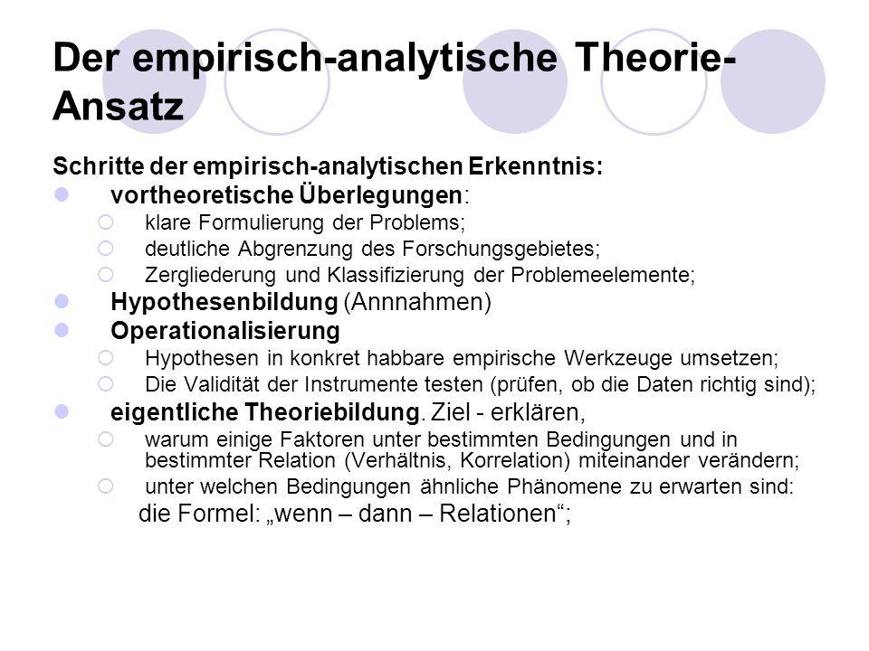 Der empirisch-analytische Theorie- Ansatz Schritte der empirisch-analytischen Erkenntnis: vortheoretische Überlegungen: klare Formulierung der Problem