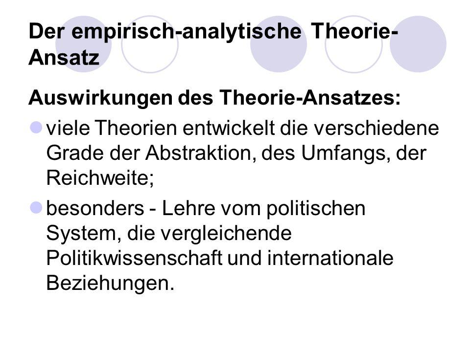 Der empirisch-analytische Theorie- Ansatz Auswirkungen des Theorie-Ansatzes: viele Theorien entwickelt die verschiedene Grade der Abstraktion, des Umf