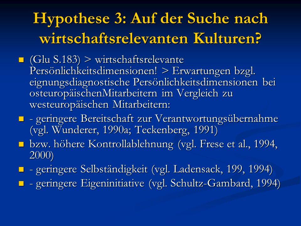 Hypothese 3: Auf der Suche nach wirtschaftsrelevanten Kulturen.