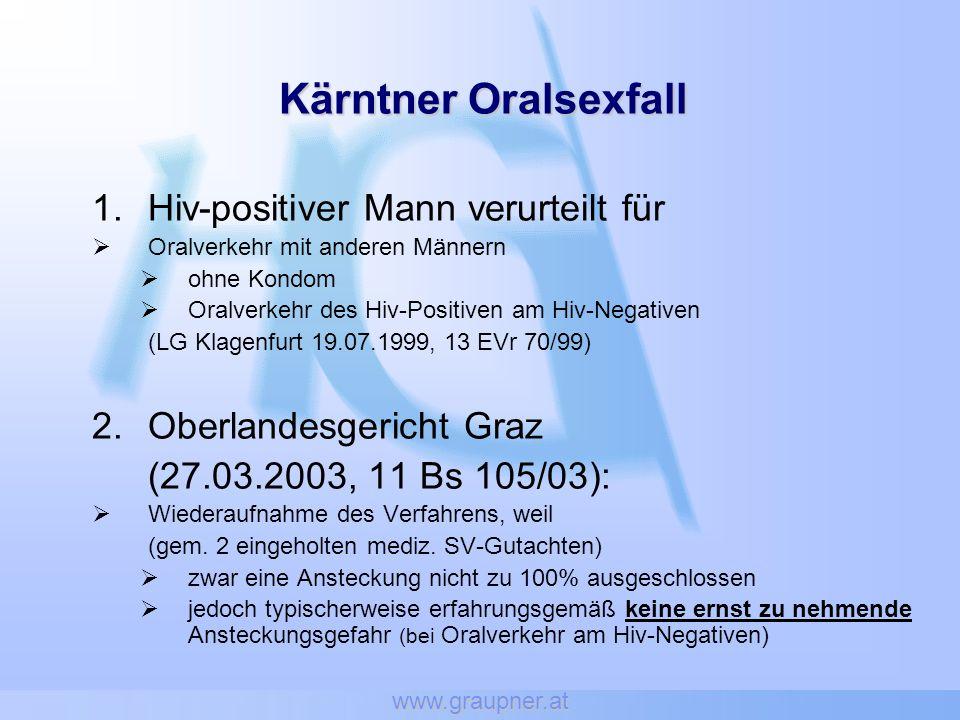 www.graupner.at Kärntner Oralsexfall 1.Hiv-positiver Mann verurteilt für Oralverkehr mit anderen Männern ohne Kondom Oralverkehr des Hiv-Positiven am