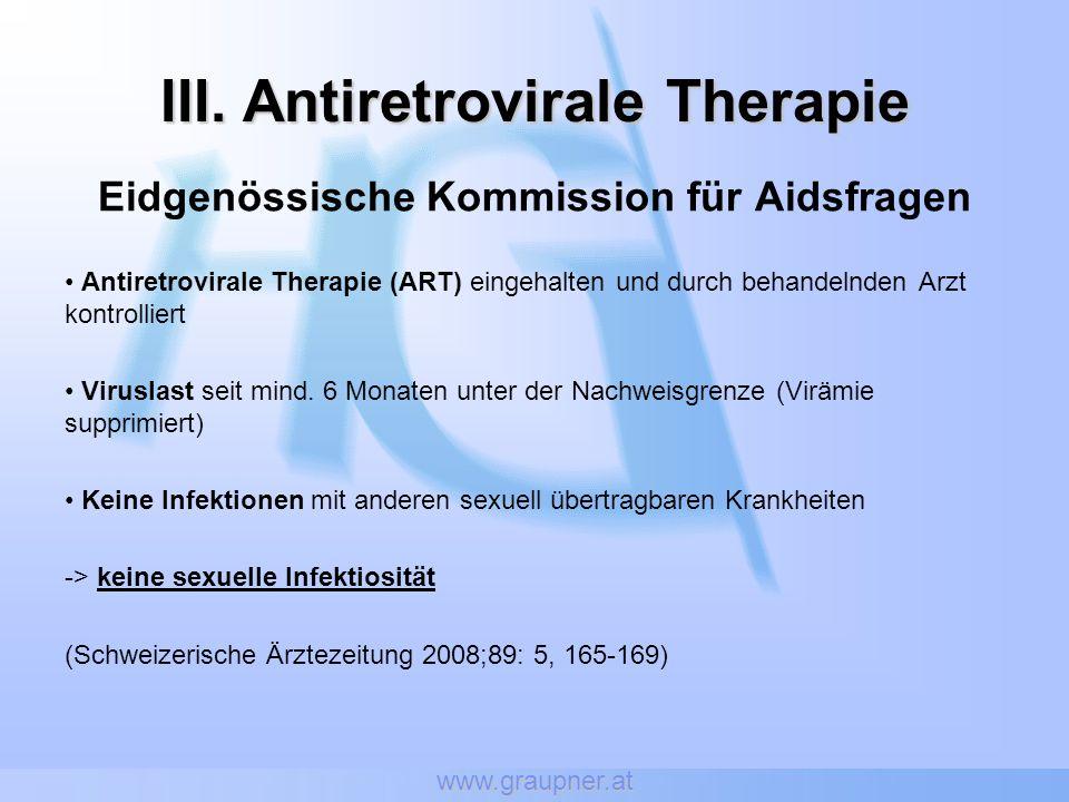 www.graupner.at III. Antiretrovirale Therapie Eidgenössische Kommission für Aidsfragen Antiretrovirale Therapie (ART) eingehalten und durch behandelnd