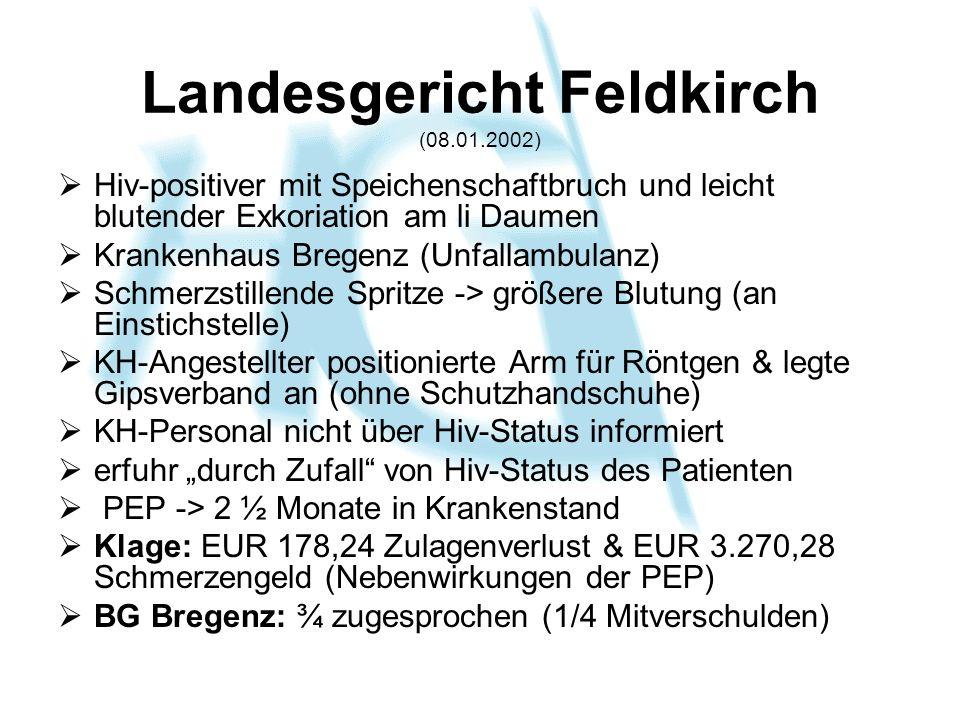 Landesgericht Feldkirch (08.01.2002) Hiv-positiver mit Speichenschaftbruch und leicht blutender Exkoriation am li Daumen Krankenhaus Bregenz (Unfallam