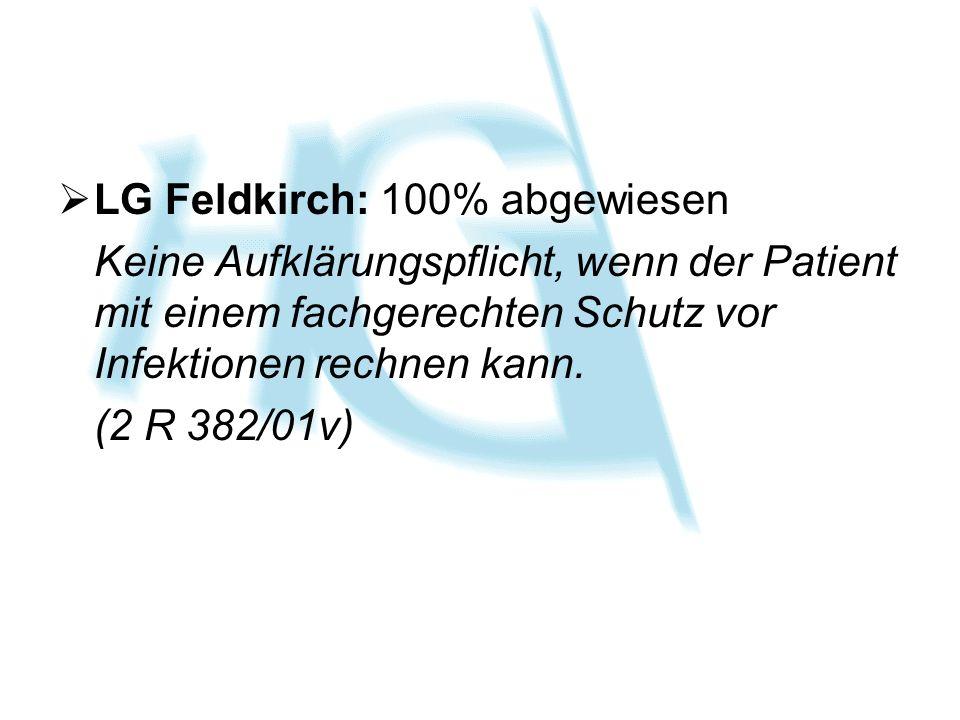 LG Feldkirch: 100% abgewiesen Keine Aufklärungspflicht, wenn der Patient mit einem fachgerechten Schutz vor Infektionen rechnen kann. (2 R 382/01v)