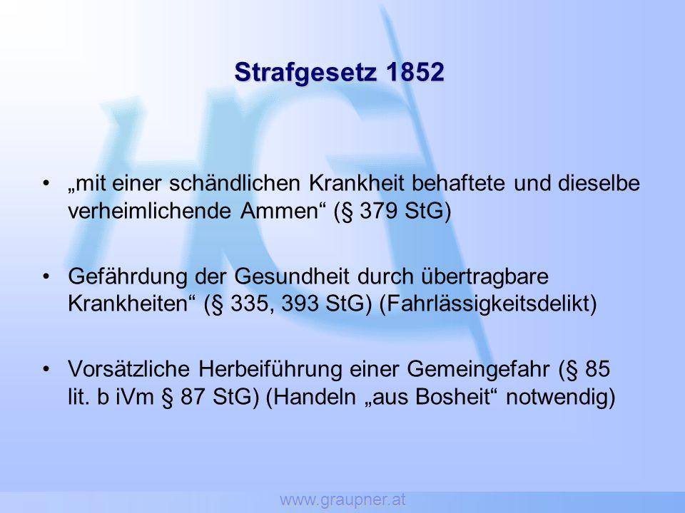 www.graupner.at Strafgesetzbuch (StGB) 1975 Vorsätzliche Gefährdung von Menschen durch übertragbare Krankheiten § 178 StGB.