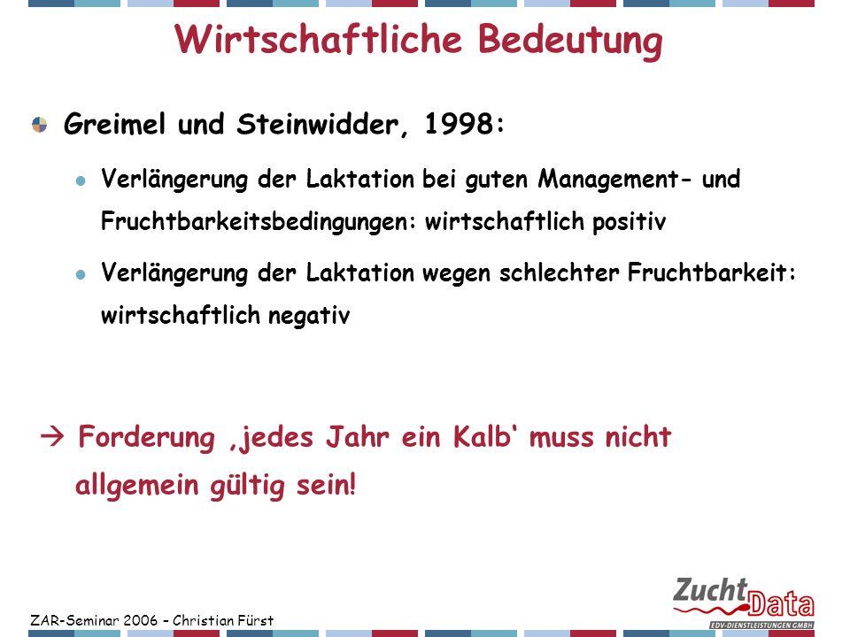 ZAR-Seminar 2006 – Christian Fürst Wirtschaftliche Bedeutung Greimel und Steinwidder, 1998: Verlängerung der Laktation bei guten Management- und Fruch