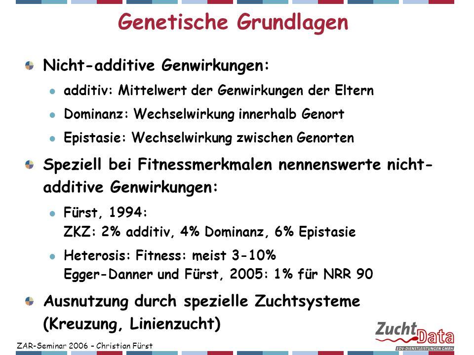 ZAR-Seminar 2006 – Christian Fürst Genetische Grundlagen Nicht-additive Genwirkungen: additiv: Mittelwert der Genwirkungen der Eltern Dominanz: Wechse