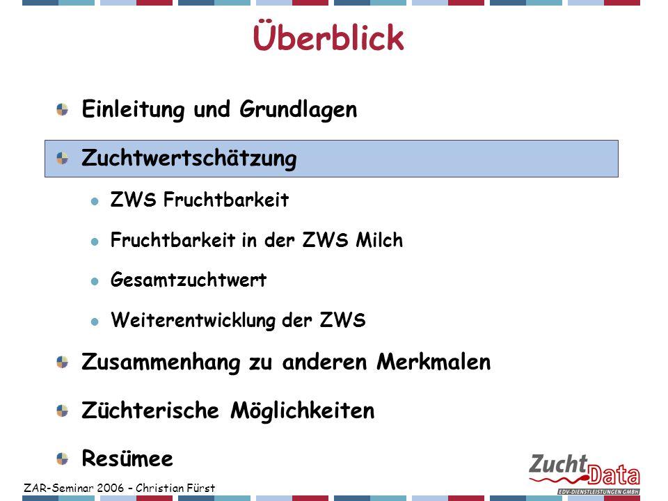 ZAR-Seminar 2006 – Christian Fürst Überblick Einleitung und Grundlagen Zuchtwertschätzung ZWS Fruchtbarkeit Fruchtbarkeit in der ZWS Milch Gesamtzucht