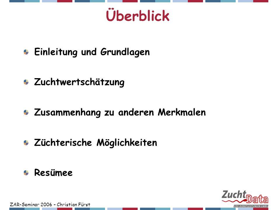 ZAR-Seminar 2006 – Christian Fürst Zusammenhang zu anderen Merkmalen Exterieur Bühler und Maurer, 2004: Schweiz: Fleckvieh, Braunvieh, Holstein Zusammenhang Exterieur – NRR 75 Harnsee auf Scheidenboden