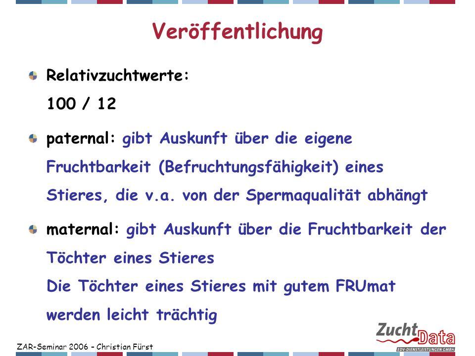 ZAR-Seminar 2006 – Christian Fürst Veröffentlichung Relativzuchtwerte: 100 / 12 paternal: gibt Auskunft über die eigene Fruchtbarkeit (Befruchtungsfäh
