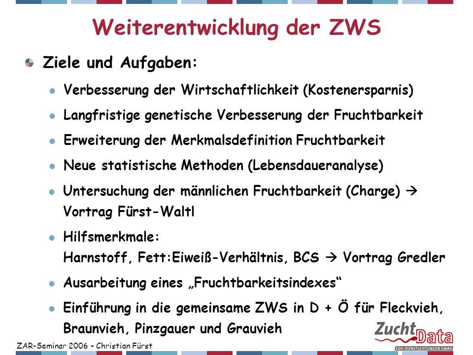 ZAR-Seminar 2006 – Christian Fürst Weiterentwicklung der ZWS Ziele und Aufgaben: Verbesserung der Wirtschaftlichkeit (Kostenersparnis) Langfristige ge