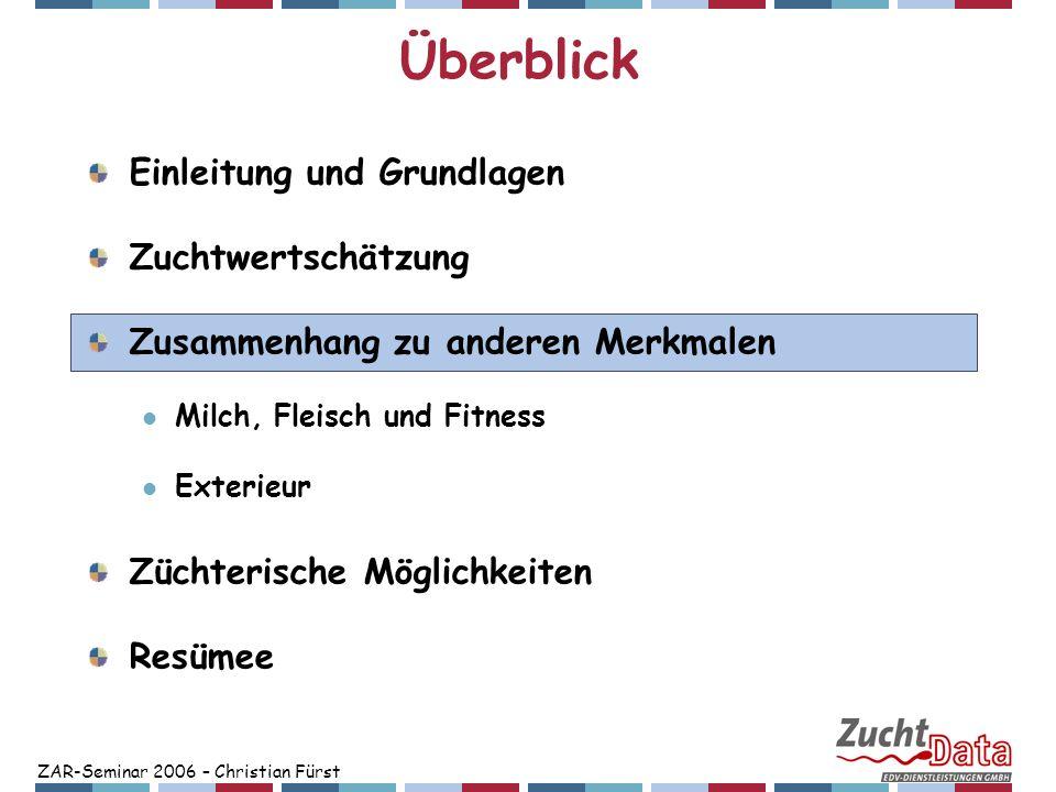 ZAR-Seminar 2006 – Christian Fürst Überblick Einleitung und Grundlagen Zuchtwertschätzung Zusammenhang zu anderen Merkmalen Milch, Fleisch und Fitness