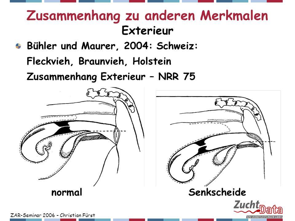 ZAR-Seminar 2006 – Christian Fürst Zusammenhang zu anderen Merkmalen Exterieur Bühler und Maurer, 2004: Schweiz: Fleckvieh, Braunvieh, Holstein Zusamm