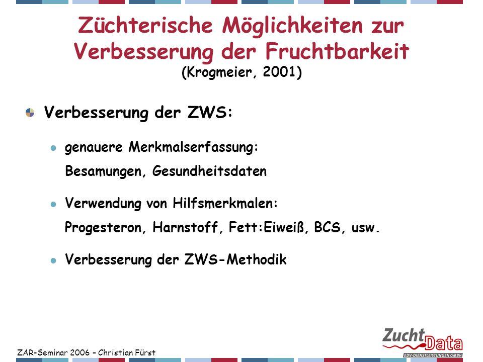 ZAR-Seminar 2006 – Christian Fürst Züchterische Möglichkeiten zur Verbesserung der Fruchtbarkeit (Krogmeier, 2001) Verbesserung der ZWS: genauere Merk