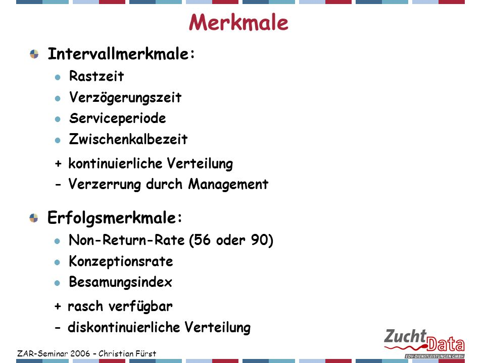 ZAR-Seminar 2006 – Christian Fürst Züchterische Möglichkeiten zur Verbesserung der Fruchtbarkeit (Krogmeier, 2001) GZW-Varianten GZW Fitness +50% Fitness +100% nur Fitness nur Milch (MW) Gesamt (rel.,%)100,097,892,3 Fruchtbarkeit paternal (ZW) +0,2+0,81,3 Fruchtbarkeit maternal (ZW) -0,9-0,10,6 Monetärer Zuchtfortschritt (Fürst, 2006):