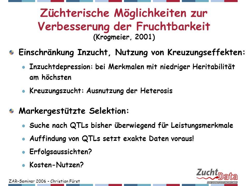 ZAR-Seminar 2006 – Christian Fürst Züchterische Möglichkeiten zur Verbesserung der Fruchtbarkeit (Krogmeier, 2001) Einschränkung Inzucht, Nutzung von