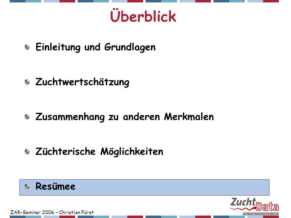 ZAR-Seminar 2006 – Christian Fürst Überblick Einleitung und Grundlagen Zuchtwertschätzung Zusammenhang zu anderen Merkmalen Züchterische Möglichkeiten
