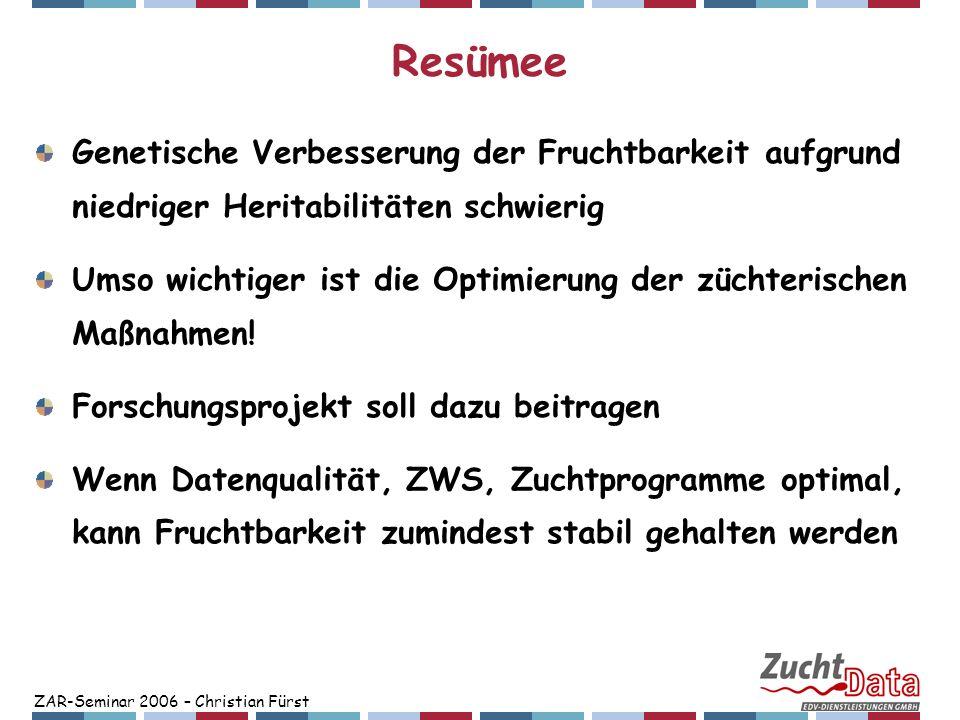 ZAR-Seminar 2006 – Christian Fürst Resümee Genetische Verbesserung der Fruchtbarkeit aufgrund niedriger Heritabilitäten schwierig Umso wichtiger ist d