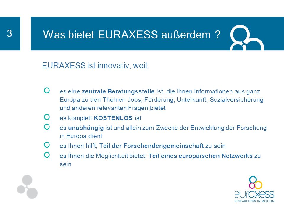 EURAXESS unterstützt die Entwicklung Ihrer Forschungskarriere, ob Sie erfahren sind oder am Anfang Ihrer Karriere stehen.