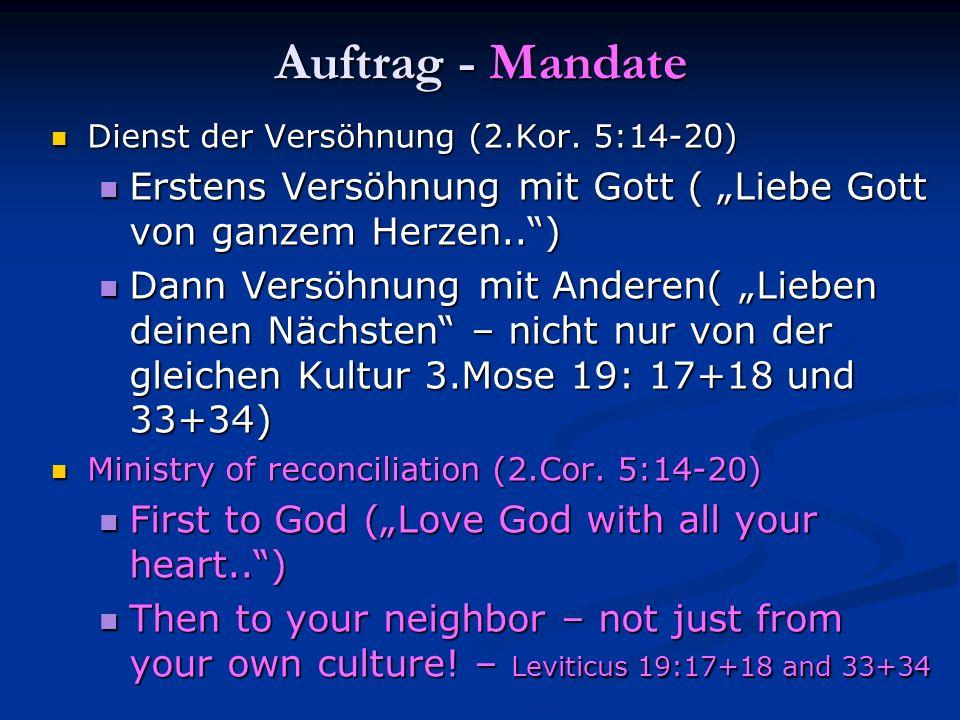Auftrag - Mandate Dienst der Versöhnung (2.Kor. 5:14-20) Dienst der Versöhnung (2.Kor. 5:14-20) Erstens Versöhnung mit Gott ( Liebe Gott von ganzem He