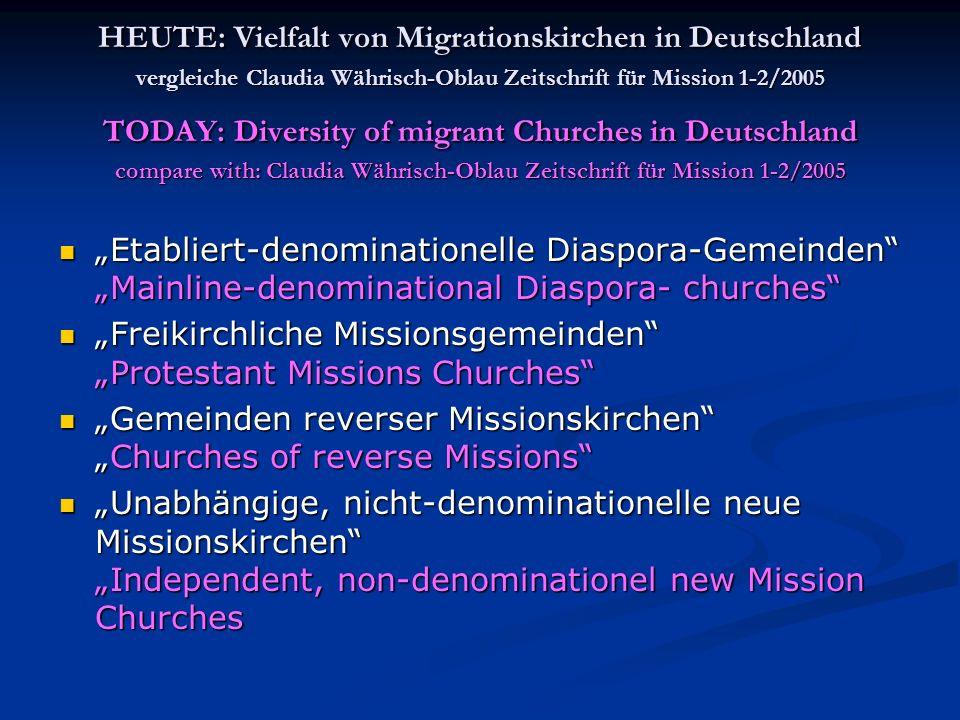 HEUTE: Vielfalt von Migrationskirchen in Deutschland vergleiche Claudia Währisch-Oblau Zeitschrift für Mission 1-2/2005 TODAY: Diversity of migrant Ch