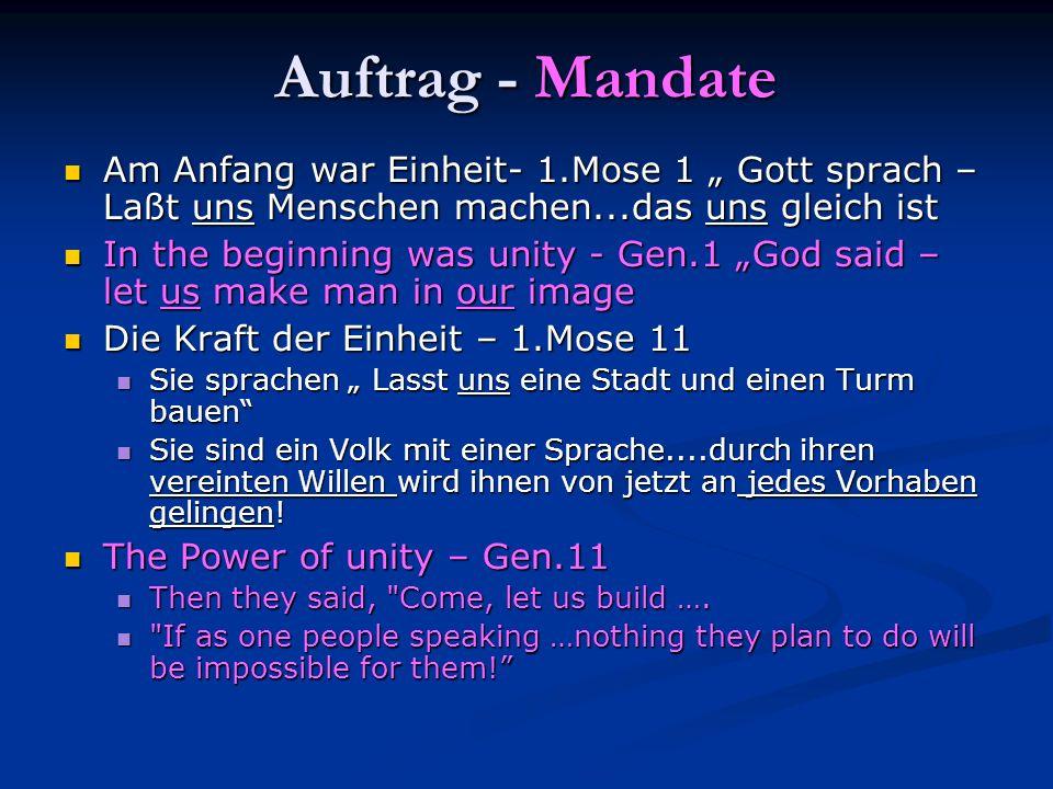 Auftrag - Mandate Am Anfang war Einheit- 1.Mose 1 Gott sprach – Laßt uns Menschen machen...das uns gleich ist Am Anfang war Einheit- 1.Mose 1 Gott spr
