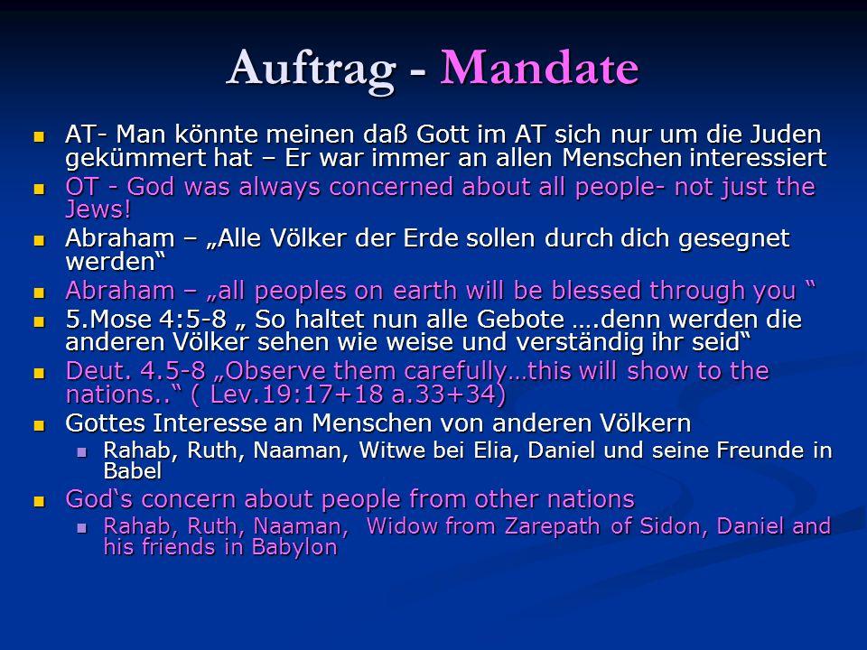 Auftrag - Mandate AT- Man könnte meinen daß Gott im AT sich nur um die Juden gekümmert hat – Er war immer an allen Menschen interessiert AT- Man könnt