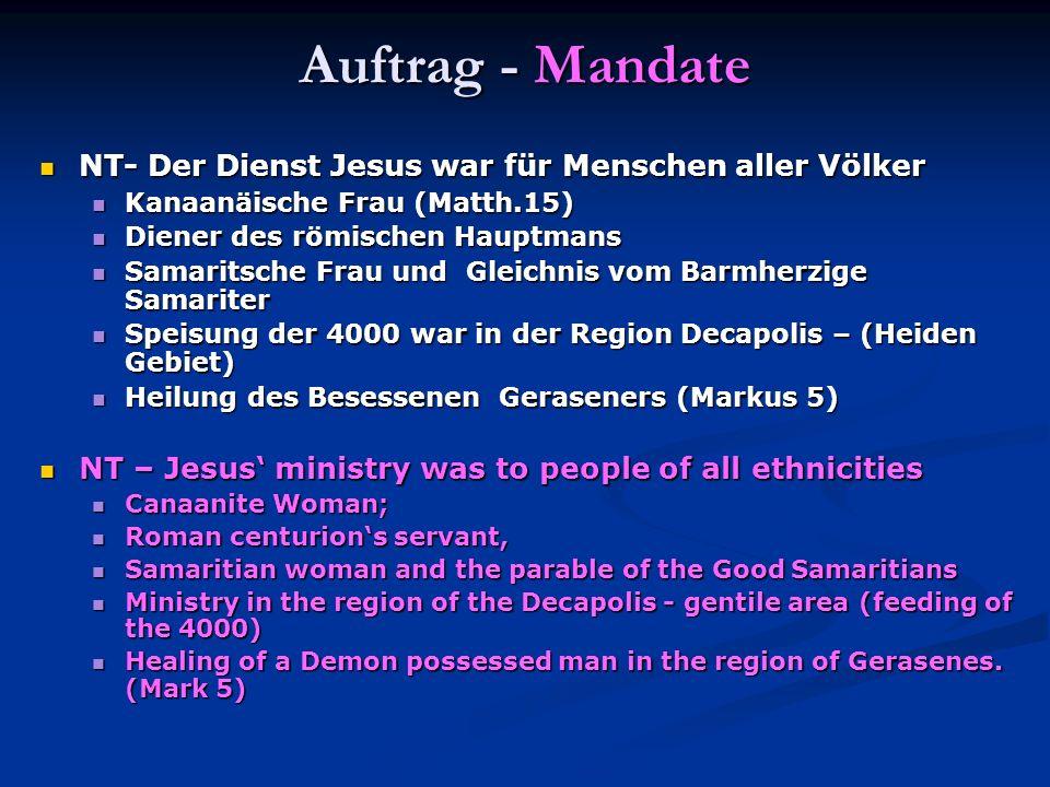 Auftrag - Mandate NT- Der Dienst Jesus war für Menschen aller Völker NT- Der Dienst Jesus war für Menschen aller Völker Kanaanäische Frau (Matth.15) K