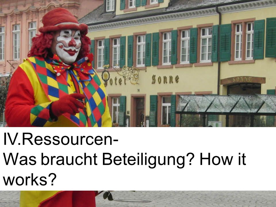 IV.Ressourcen- Was braucht Beteiligung How it works