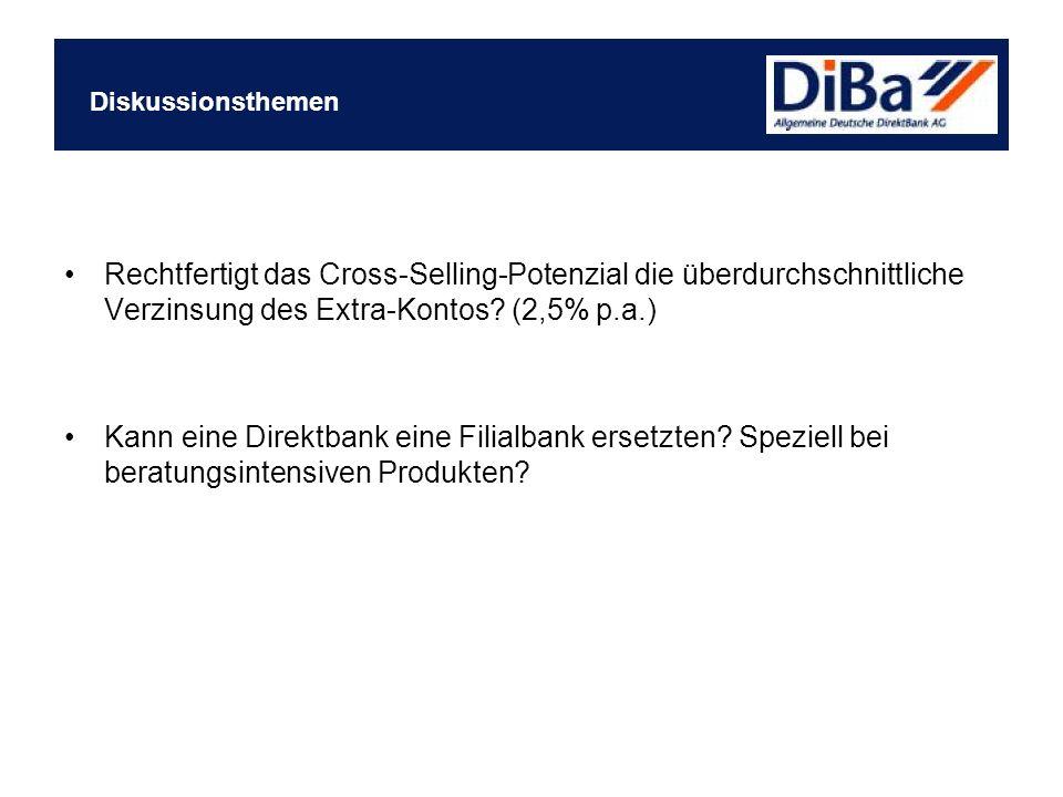 Rechtfertigt das Cross-Selling-Potenzial die überdurchschnittliche Verzinsung des Extra-Kontos? (2,5% p.a.) Kann eine Direktbank eine Filialbank erset