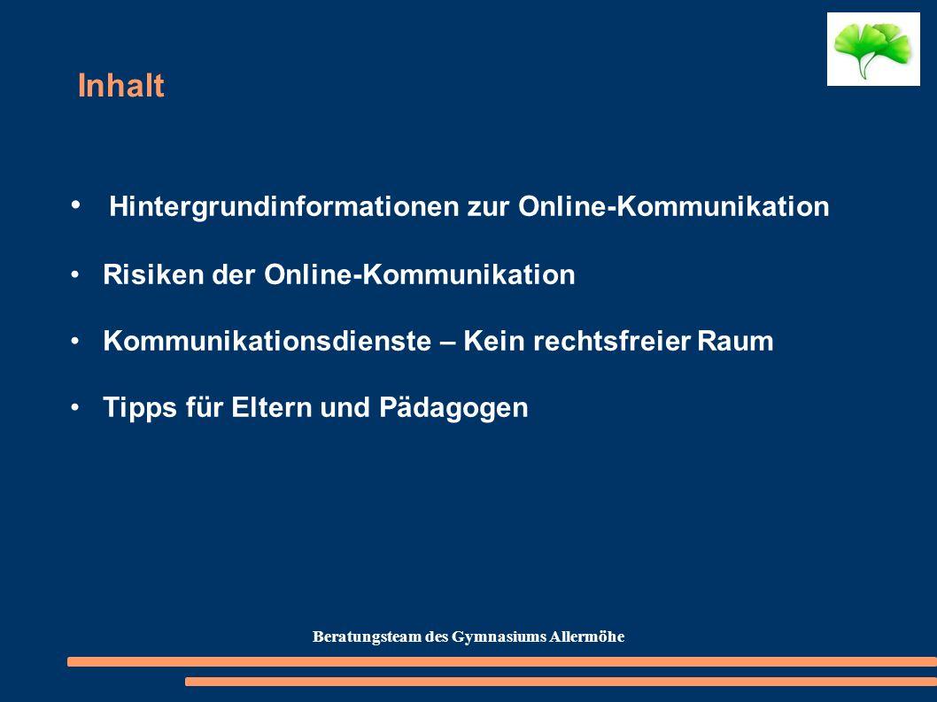 Inhalt Hintergrundinformationen zur Online-Kommunikation Risiken der Online-Kommunikation Kommunikationsdienste – Kein rechtsfreier Raum Tipps für Elt