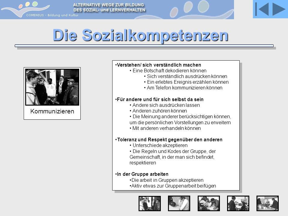 Kommunizieren Die Sozialkompetenzen Verstehen/ sich verständlich machen Eine Botschaft dekodieren können Sich verständlich ausdrücken können Ein erleb