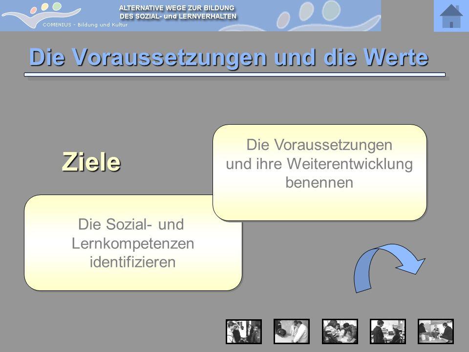 Die Voraussetzungen und die Werte Die Sozial- und Lernkompetenzen identifizieren Die Sozial- und Lernkompetenzen identifizierenZiele Die Voraussetzung